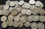 Bulk Lot Full Date Mercury Silver Dime 90 50 Coin 5.00 Face Roll Collection