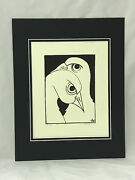 Birds 1971 Original Drawing Signed By Bloomington In Artist Violet Working