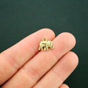 12 Elephant Charms Antique Gold Tone 2 Sided - Gc603