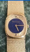 Lucien Piccard 14k Yellow Gold Mechanical Watch W/ Mesh Band Blue Dial