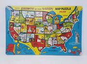 Vintage Built-rite Usa Map Puzzle Sta-n-place - Nos - Mid Century Themes