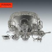 Antique 20thc Japanese Solid Silver Tea And Coffee Service On Tray, Konoike C.1900
