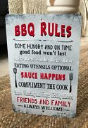 Bbq Rules - Grilling Metal Sign - Home Decor - Bbq Sign- Barbecue Grill Sign