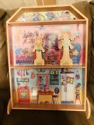 R- Doll House With 2 Magnetic Dolls And Full Wardrobe Incl Hats Shoes Etc.