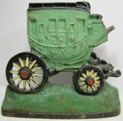 1930s Cast Iron Stagecoach Doorstop Bookend Art Statue Titus Foundry Michigan