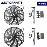 2x 16inch Universal Slim Pull Push Electric Radiator Cooling Fan And Mount Kit 12v