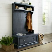Navy Finish Wooden Hall Tree Coat Rack Hat Hooks Storage Stand Entryway Bench