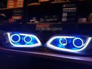 Holden Ve Commodore S1 Black Drl Headlights W/ Multicolored Halos Led Angel Eyes