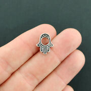 10 Hamsa Hand Spacer Beads Antique Silver Tone 2 Sided Bead Frame - Sc1687