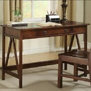 Antique Computer Writing Desk Table Country Drawer Pine Wood Brown Home Office