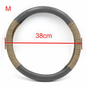 M Gray Brown Ice Silk Faux Leather Anti Skid Car Steering Wheel Cover Protector