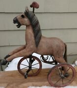 Antique Doll Wood And Iron Hand Carved Horse Tricycle 1800and039s France Beautiful