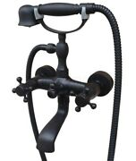 Oil Rubbed Bronze Wall Mount Clawfoot Bath Tub Mixer Tap Faucet Handheld Shower