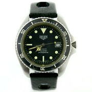 Heuer 1000 Prof Vintage 980.007 Rare Diver Black Dial Stainless Steel Mens Watch