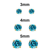 14k Yellow Gold Cz December Birthstone Screw-back Earrings-choice Of 3 4 Or 5mm