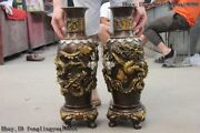 Chinese Lucky Two Dragon Play Bead Bronze Copper Gild Silver Plating Vase Pair