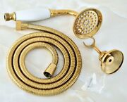 Gold Brass Bathroom Telephone Hand Held Shower Head And Hose And Bracket Ghh040