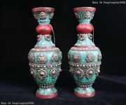 Chinese Copper Inlay Ruby Turquoise Coral Royal Palace Bottle Vase Pair