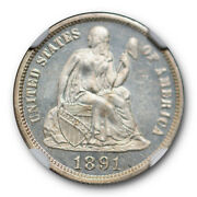 1891 Seated Liberty Dime 10c Ngc Ms 64 Pl Proof Like Pop 4 Rare