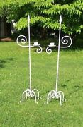 Antique 1800and039s Twisted Wrought Iron Floor Candelabras Church / Wedding / Gothic