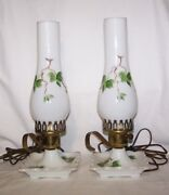 Mid-century Finger Dresser Lamps White Milk Glass / Globes Hand Painted Ivy X 2