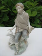 Mint Exquisite Lladro 4817 Little Shepherd With Goat Retired 1982