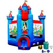 Deluxe Brave Knight Commercial Inflatable Bounce House With Blower 15 Oz Vinyl