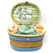 Rare Vintage Ice Cream Picnic Basket Wicker Service For 6 By Redenvelope China