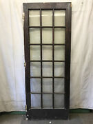 Wood 18 Lite Glass Reclaimed Salvaged Door Architectural Vintage 34x88
