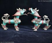 Old Tibet Copper Inlay Turquoise Coral Fu Foo Dog Lion Brave Troops Statue Pair