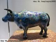 Chinese Royal Palace Copper Cloisonne Enamel Lucky Ox Bull Water Buffalo Statue