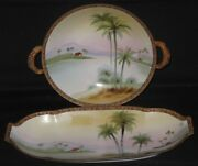 Antique Hand Painted Nippon Bowl And Serving Dish C.1911-1921 Japan