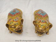 Chinese Royal Fengshui 100 Pure Bronze Cloisonne Swine Pig Palace Statue Pair
