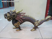 Huge China Tibet-carved 100 Pure Bronze 24k Gold Royal Auspicious Dragon Statue