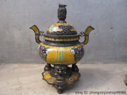 21.5chinese Classical Pure Bronze Cloisonne Carved Dragon Lion Incense Burner