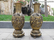China Copper Old Bronze Eight Carved Fine Horses Picture Bottle Vase Pair