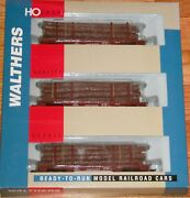 Walthers 932-34005 45' Logging Flat Car With Logs 3-pack Union Pacific Up