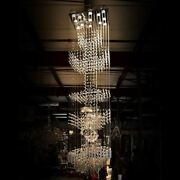 102 Contemporary Grand Floating Crystal Column Chandelier