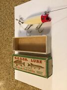 Rare 1940andrsquos Creek Chub Bait Co. Castrola In Red / White Finish - In Marked Box