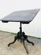 Antique 1877 Drawing Drafting Tilt Top Table Clowes And George Gates Oak And Iron