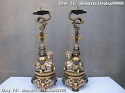 China Royal Pure Bronze 24k Gold Silver Lucky Two Sheep Candlestick Pair Statue