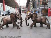 21chinese Classic Bronze Lucky Peace Propitious Two Elephant Statuary Pair