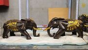 Chinese Feng Shui Bronze Gilt Attract Wealth Bat Lucky Lotus Elephant Pair