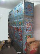 Huge China Royal Pure Bronze Cloisonne Dragon Palace Bookcase Cabinet Statue