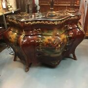 Hand-painted French Style Marble Top Bombandeacute Chest Bronze Accents Antique Style