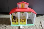Wood Wooden Paradise Farm Horse Barn Stable With Brown Horse Figure