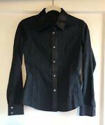 Tom Ford For Gg Monogram Black Canvas Leather Trim Shirt Jacket Size 38 Xs