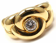 Rare Authentic And Vca 18k Yellow Gold Diamond Braided Band Ring