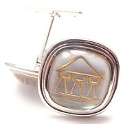Authentic Temple St Clair 18k Yellow Gold Crystal Mop Temple Cufflinks