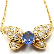 Authentic 18k Yellow Gold Diamond Sapphire Butterfly Necklace